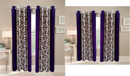 Classic Polyester Printed Window Curtains Set Of 2 & Door Curtains Set Of 2