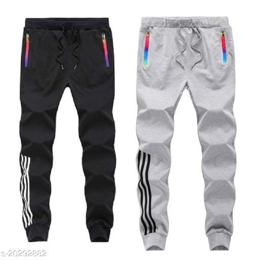 Joggers Park Men Black and Grey Zipper Track Pant