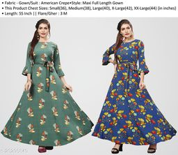 Women's Multicolor Crepe Flared Gown(Combo Packof 2)
