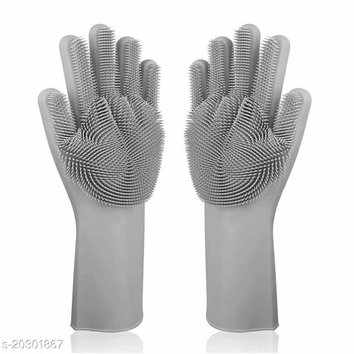 Silicon rubber brush Hand Cleaning safety dishwashing reusable long hand care protection good quality diswash cleaning bathroom toilet garden pet grooming safety cleaning unisex gloves