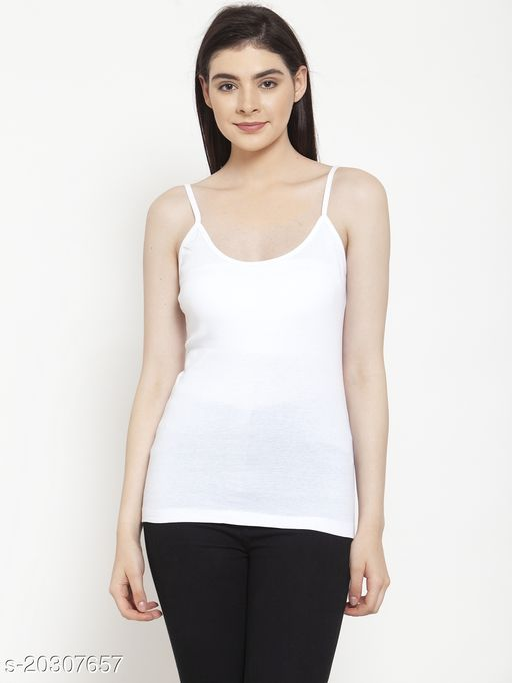 Women White Cotton Rib Camisole