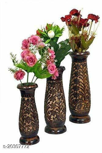 India Wood Mart Wooden Table showpiece Wooden Vase (12 inch, Multicolor)