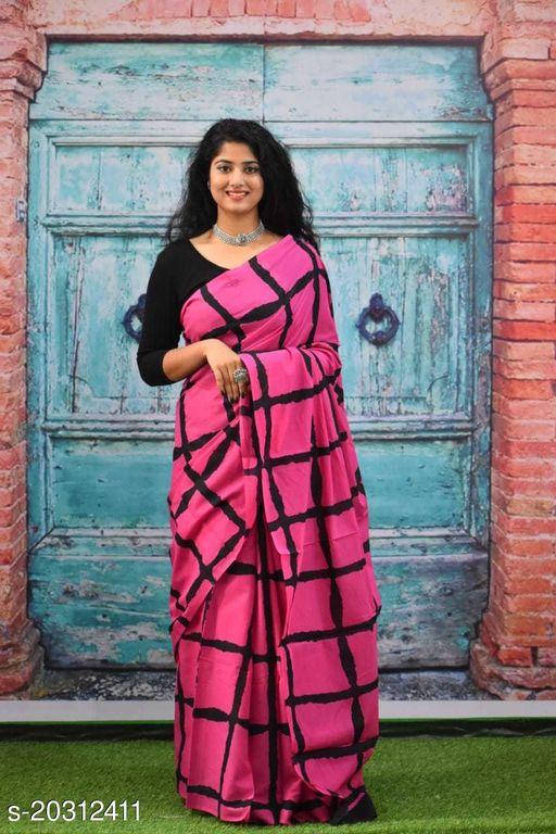 Rani Prints Hand Printed Cotton Mulmul Saree with Unstitched Blouse