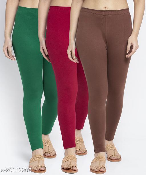 Women Green Maroon Brown Modern Lycra Solid Ankle Length Legging