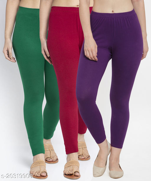 Women Green Maroon Purple Modern Lycra Solid Ankle Length Legging
