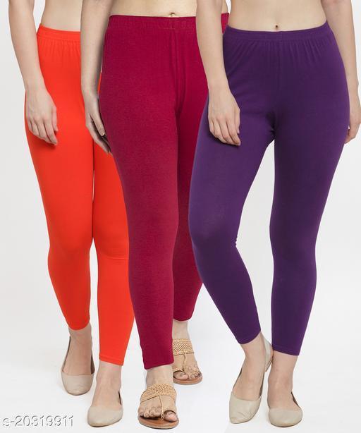 Women Orange Maroon Purple Modern Lycra Solid Ankle Length Legging