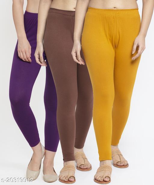 Women Purple Brown Gold Modern Lycra Solid Ankle Length Legging