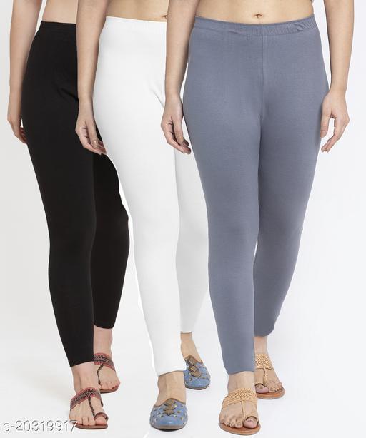 Women Black White Grey Modern Lycra Solid Ankle Length Legging