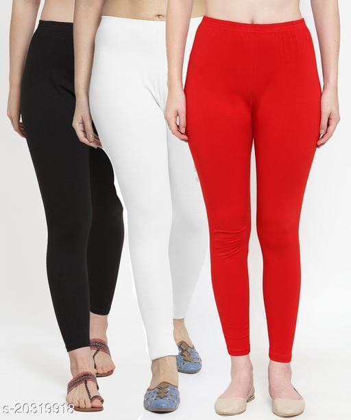 Women Black White Red Modern Lycra Solid Ankle Length Legging