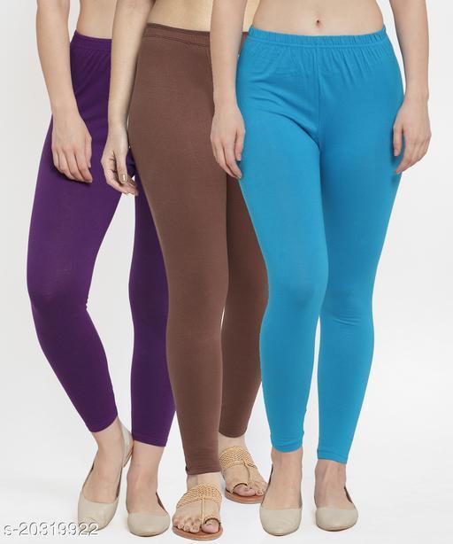 Women Purple Brown Turquise Modern Lycra Solid Ankle Length Legging