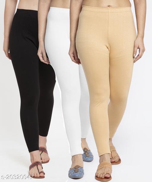 Women Black White Beige Modern Lycra Solid Ankle Length Legging