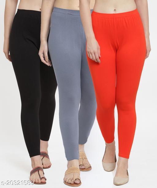 Women Black Grey Orange Modern Lycra Solid Ankle Length Legging