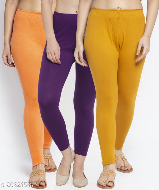 Women Gajri Purple Gold Modern Lycra Solid Ankle Length Legging