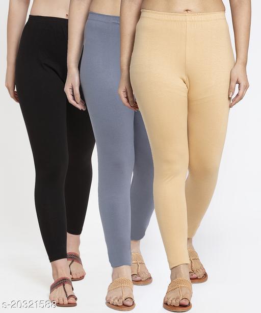 Women Black Grey Beige Modern Lycra Solid Ankle Length Legging