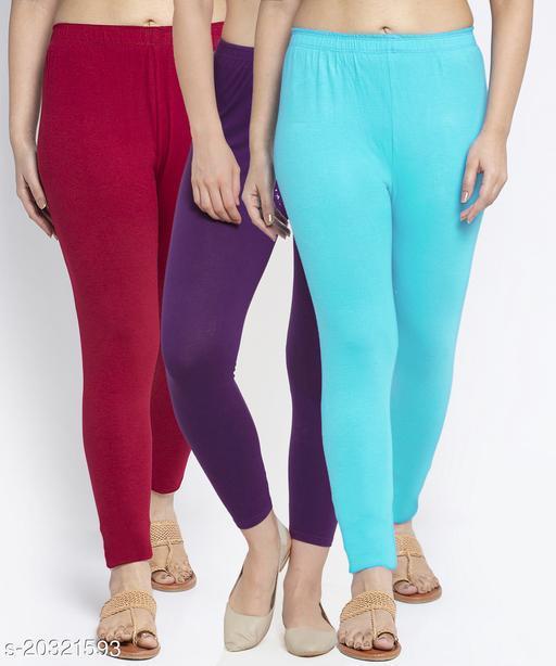 Women Maroon Purple Light Blue Modern Lycra Solid Ankle Length Legging