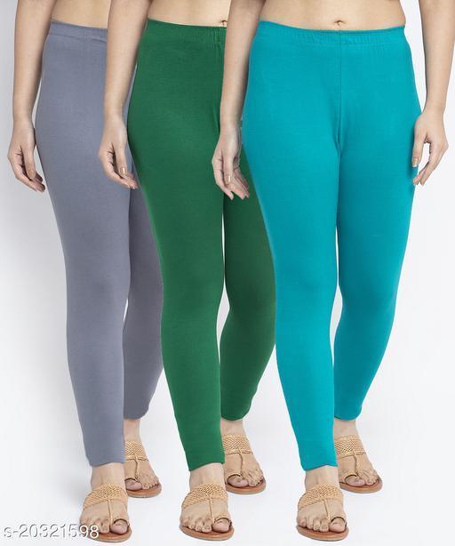 Women Grey Green Light Blue Modern Lycra Solid Ankle Length Legging
