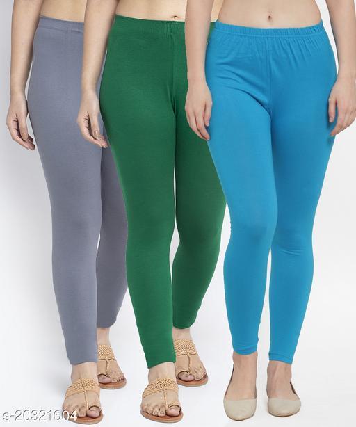 Women Grey Green Turquise Modern Lycra Solid Ankle Length Legging