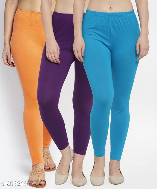 Women Gajri Purple Turquise Modern Lycra Solid Ankle Length Legging