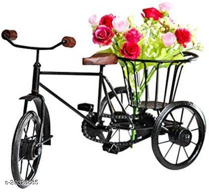 Indian Wood Mart Small Miniature Tricycle Flower Rikshaw Iron Vase(8 inch, Black)