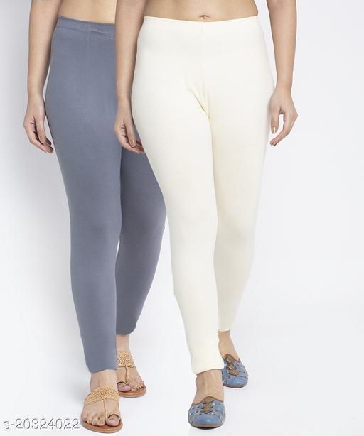 Women Grey Off White Modern Lycra Solid Ankle Length Legging