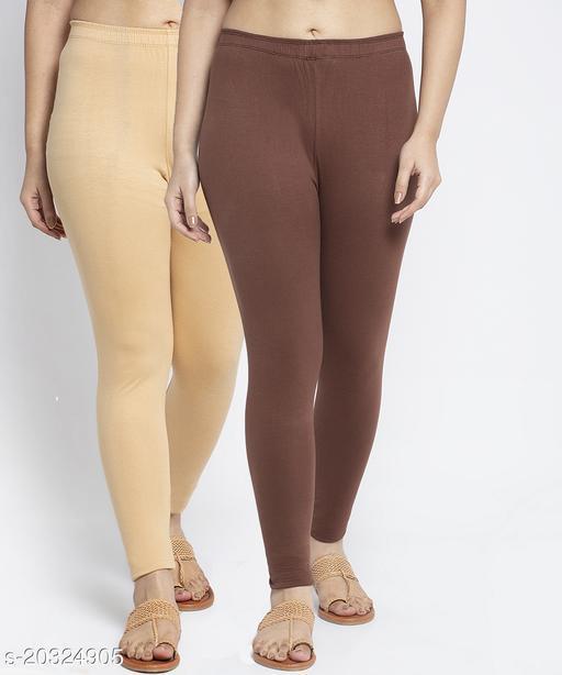 Women Beige Brown Modern Lycra Solid Ankle Length Legging