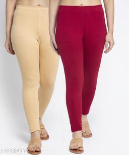 Women Beige Maroon Modern Lycra Solid Ankle Length Legging
