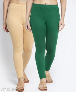 Women Beige Green Modern Lycra Solid Ankle Length Legging