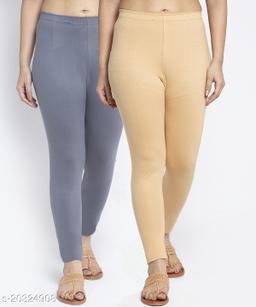 Women Grey Beige Modern Lycra Solid Ankle Length Legging