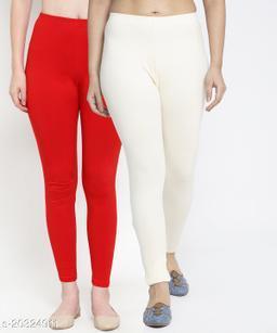 Women Red Off White Modern Lycra Solid Ankle Length Legging