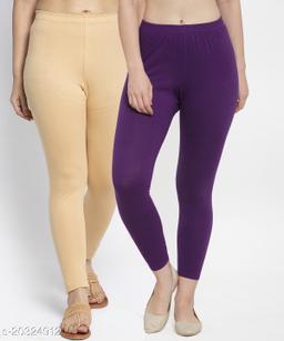 Women Beige Purple Modern Lycra Solid Ankle Length Legging