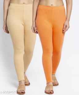 Women Beige Gajri Modern Lycra Solid Ankle Length Legging