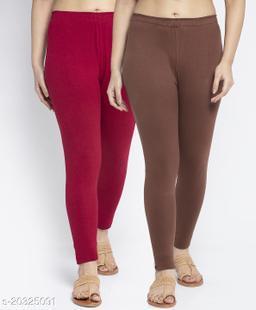 Women Maroon Brown Modern Lycra Solid Ankle Length Legging