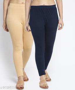 Women Beige Navy Modern Lycra Solid Ankle Length Legging