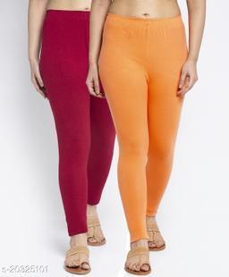 Women Maroon Gajri Modern Lycra Solid Ankle Length Legging