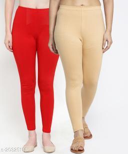Women Red Beige Modern Lycra Solid Ankle Length Legging