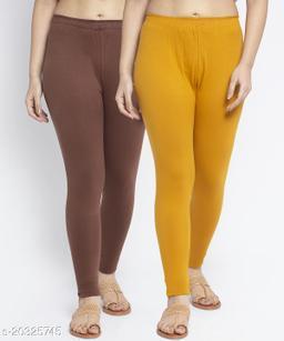 Women Brown Gold Modern Lycra Solid Ankle Length Legging