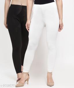Women Black White Modern Lycra Solid Ankle Length Legging