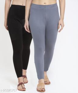 Women Black Grey Modern Lycra Solid Ankle Length Legging