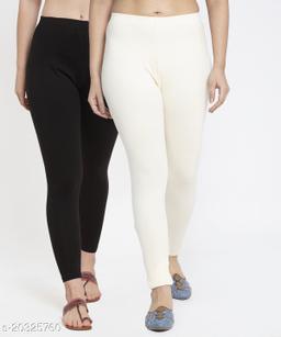 Women Black Off White Modern Lycra Solid Ankle Length Legging
