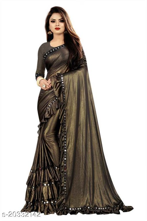 Delight Shiny Foil Lycra Ruffle Saree with Blouse