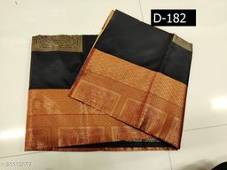 blak Soft Silk weaving with beautiful self design weaving, comes with contrast border on both side & beautiful contrast rich pallu & contrast weaving blouse .