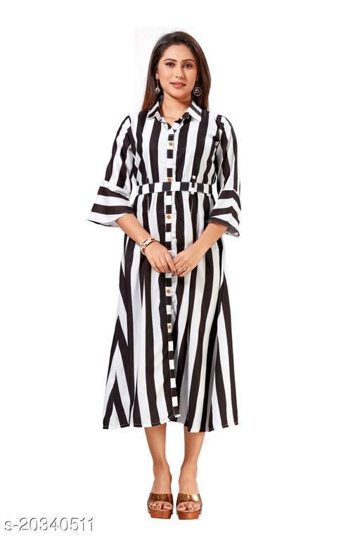 Stylish Digital Printed Rayon Fabric Full Stitched Womens Flair Kurtis