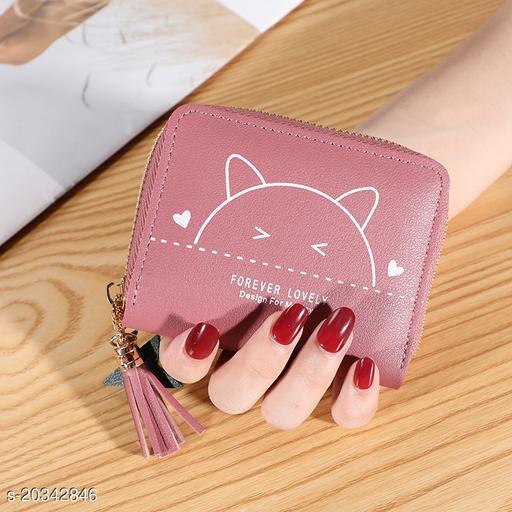 Trendy Women's Pink PU Wallet