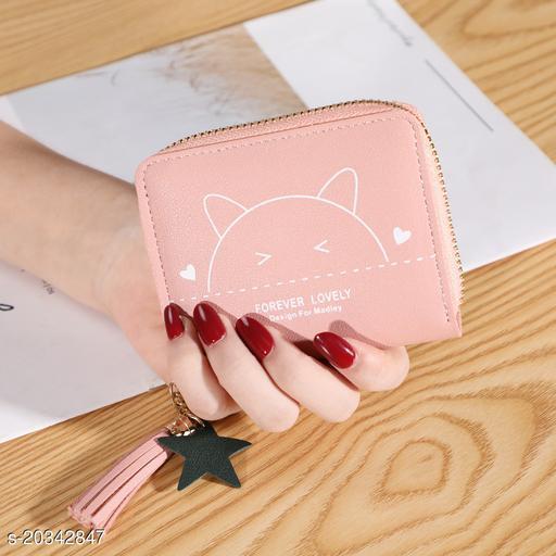 Trendy Women's Peach PU Wallet