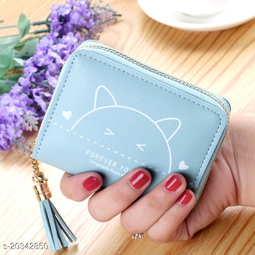 Trendy Women's Blue PU Wallet