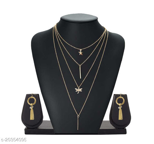 Trendy Layered Rose Gold-Plated Necklace Set