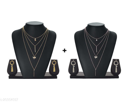 Trendy 2 Pcs Layered Necklace With Earrings Combo