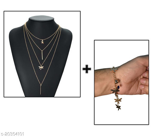 Trendy  Layered Rose Gold-Plated Necklace with Bracelet