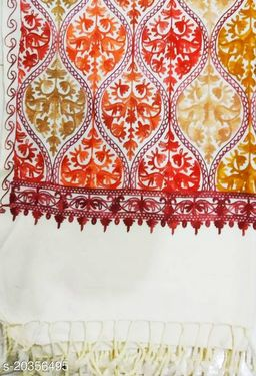 woolen matka design stole for men women (white/cream) colour