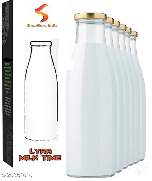 ShopGuru India Hygienic Air Tight Italian Glass Water/Milk/Juice Bottle with Air Tight Cap1000 ml Bottle(Pack of 6, Clear, Glass)